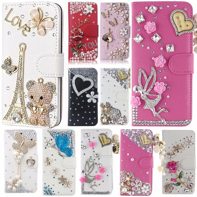 competitive price b72ff 1632b US $6.83 8% OFF|Luxury Bling Diamond Flip Leather Phone Case For LG K7/LG  Tribute 5 LS675/LG M1/MS330 (US version),Wallet Cover With Card Slot-in ...