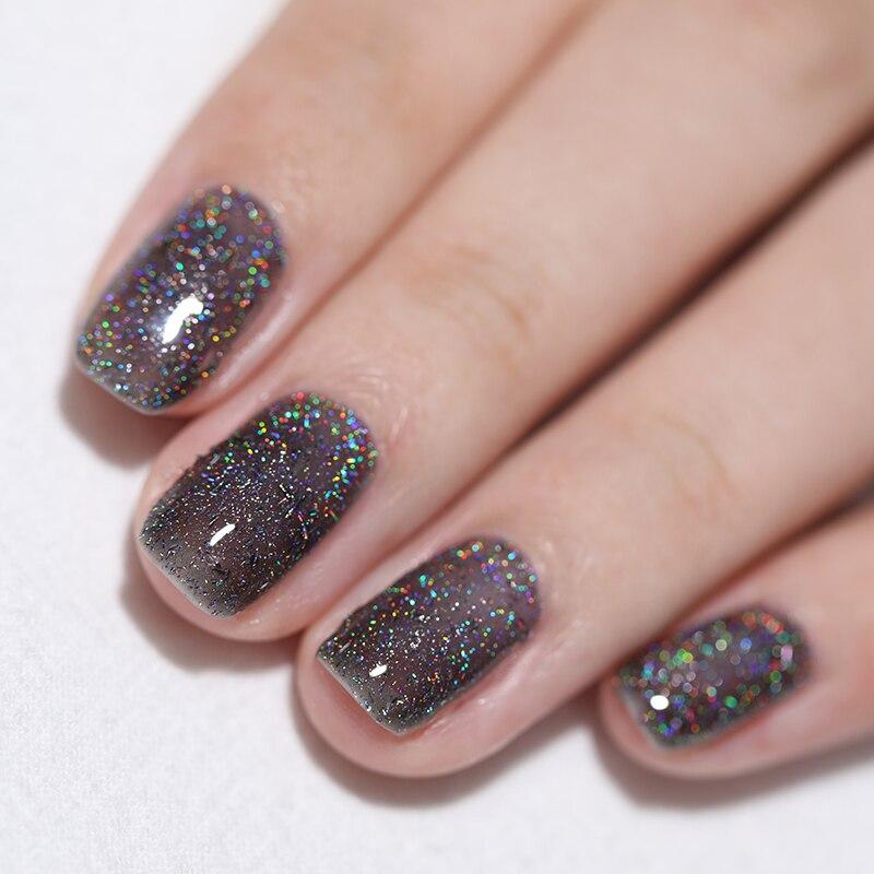 BORN PRETTY Holographic Sequins Nail Polish 6ml Shimmer Nail Art ...