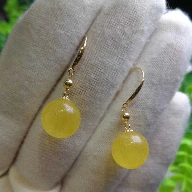 Sinya 11mm ambre perles rondes boucle d'oreille Au750 18 k or dangle boucle d'oreille pour les femmes mère 2018 nouveauté meilleur cadeau
