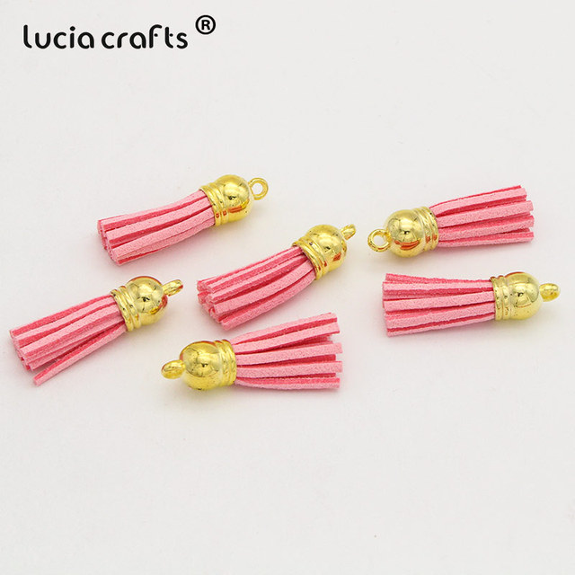 50pcs 85mm hot pink suede leather with gold plated copper caps tassels ears charms findings