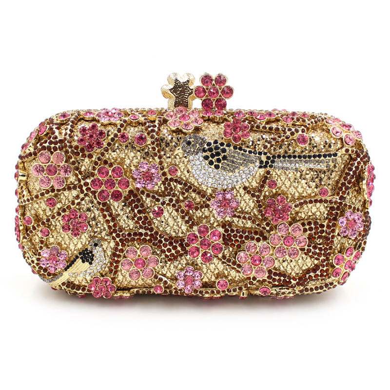 Women Luxury Rhinestone Clutch Evening Handbag Ladies Crystal Wedding Purses Dinner Party Bag Gold Silver Bird Flower Purse milisente high quality luxury crystal evening bag women wedding purses lady party clutch handbag green blue gold white