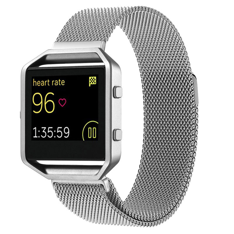 Luxury Silver Stainless Steel Milanese Magnetic Loop Men Women Fitbit Blaze Watch Band Strap Bangle Watchband Interlock Clasp crested milanese loop strap metal frame for fitbit blaze stainless steel watch band magnetic lock bracelet wristwatch bracelet