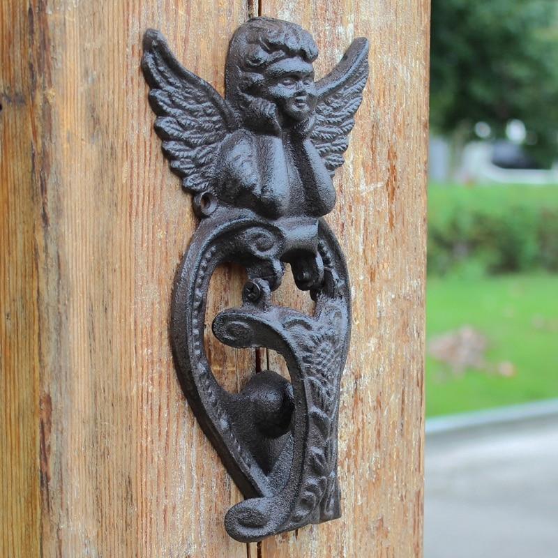 Vintage Door Knocker Cast Iron Doorknocker Winged Angel Cherub Door Latch Metal Door Gate Decoration Adornment Antique Home 2pcs тюнер little angel cherub wst 600b