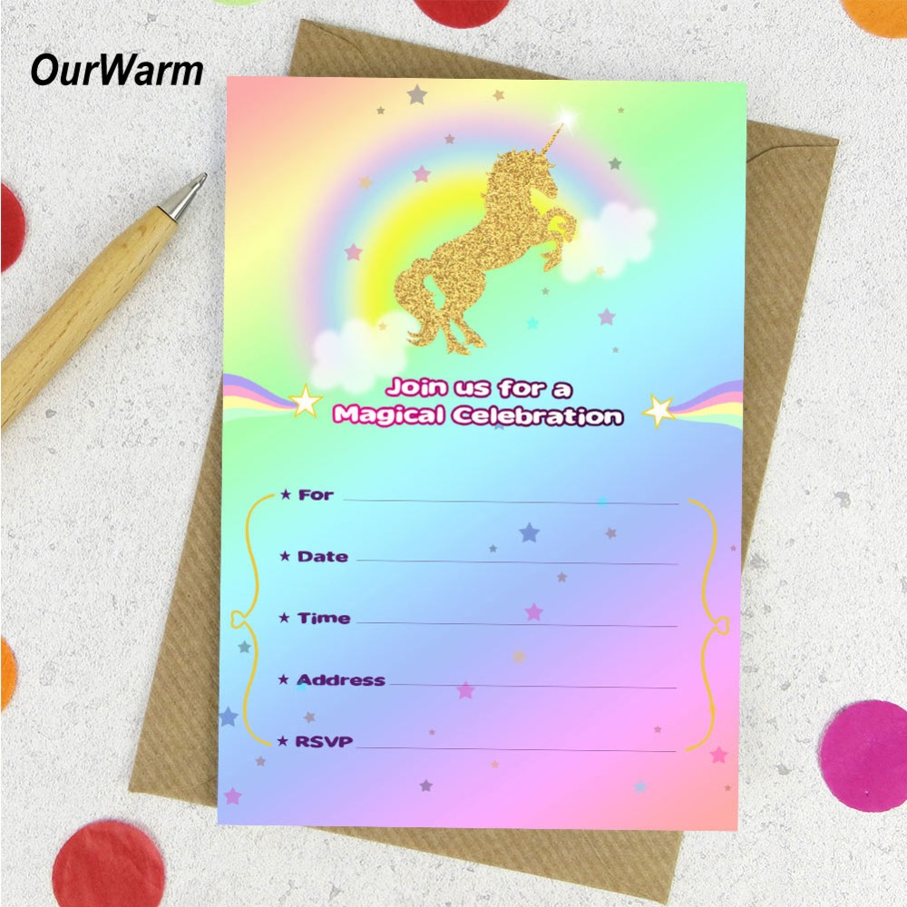 Us 4 09 18 Off Ourwarm 10 Set Unicorn Baby Shower Invitations Cards Blank Birthday Cards With Envelopes Thank You Sticker Unicorn Party Supply In