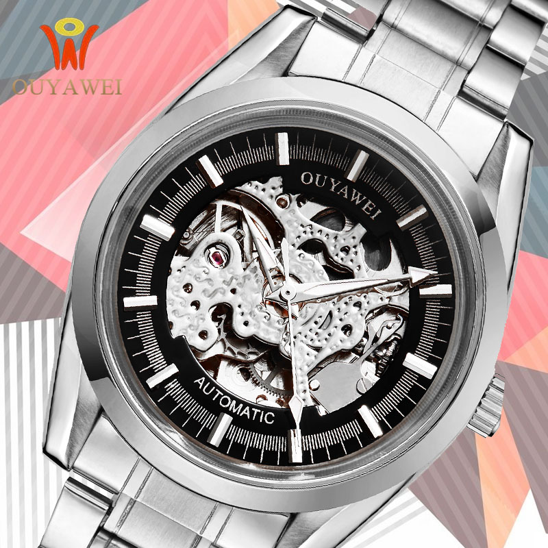 Watch Men Skeleton Automatic Mechanical Watch Gold Skeleton Vintage Man Watch Mens Watches Top Brand Luxury OUYAWEI Steel clock