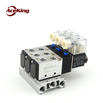 Solenoid valve air valve 4v210-08 reversing valve ac220vDC24v through coil pneumatic electromagnetic multiposition control valve 4v210 08 pneumatic dc12v dc24v ac110 ac220 5 way triple solenoid valve w base push in connectors silencer