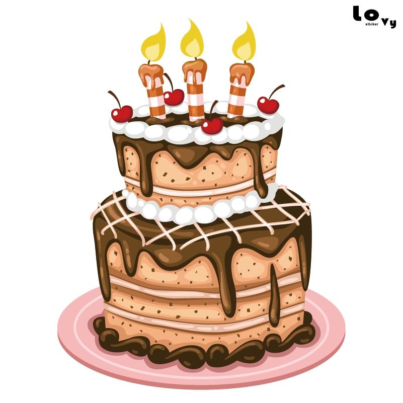 Delicious Printed Birthday Cake Vinyl Wall Sticker Birthday Party