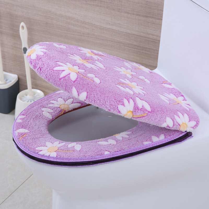 قطيفة فائقة النعومة قطعتين غطاء مقعد المرحاض سميكة الدافئة نظيفة قابل للغسل التوأم مجموعة لصق سستة المرحاض وسادة مقعد