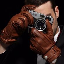 2020 nowe męskie oryginalne skórzane rękawiczki męskie jesienne zimowe kaszmirowy dzianinowy podszewka pięć palców skóra jagnięca rękawiczki EM005WR-1 tanie tanio Midnight Pulsu Dla dorosłych Genuine Leather Stałe Nadgarstek Moda Men s Gloves Full Finger Gloves No Touchscreen Cashmere Lined