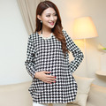 Maternity 2016 Autumn and winter maternity shirt pregnant women coat fashion houndstooth jacket Autumn maternity autumn clothes