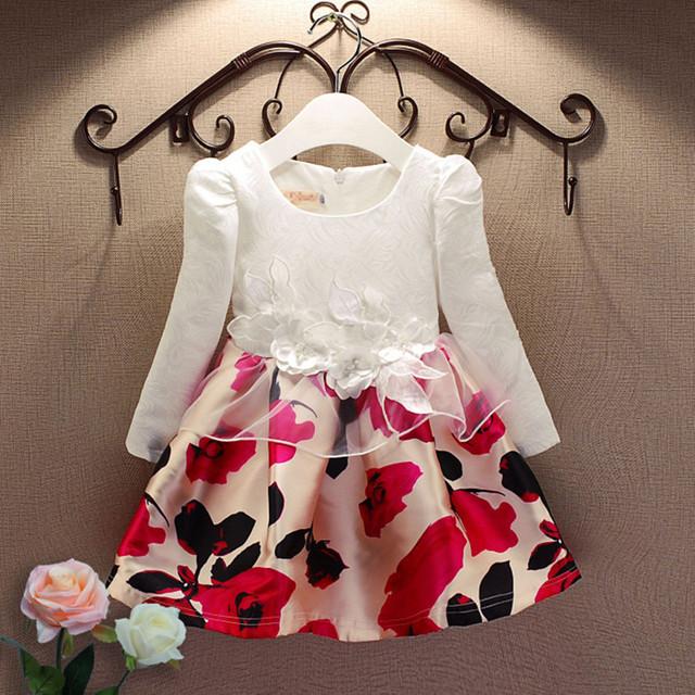 Jacquard moda primavera y otoño manga larga vestido estampado de encaje partido de la princesa niña viste ropa la muchacha 3-7 años
