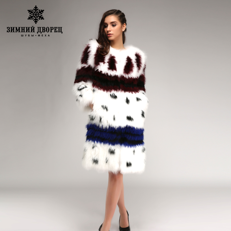 2016-2017 moda ha colpito il colore lungo di volpe cappotto di pelliccia di volpe bianco popolare di stile cappotti di pelliccia per le donne stile della stella di modo di volpe cappotto di pelliccia di inverno