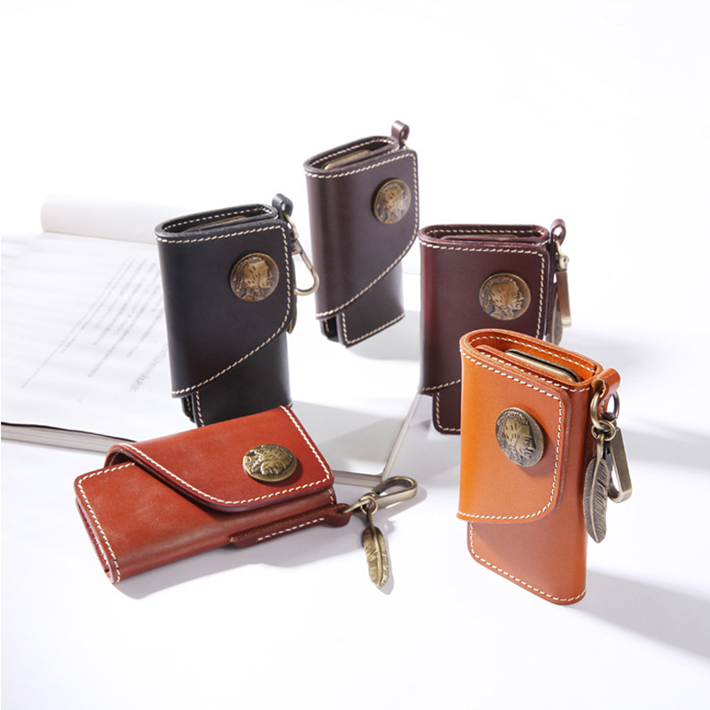 YIFANGZHE Keys Wallet Holder ,Premium Cowhide Leather Key Case Keychain Magnetic Closure and Bi-fold Design