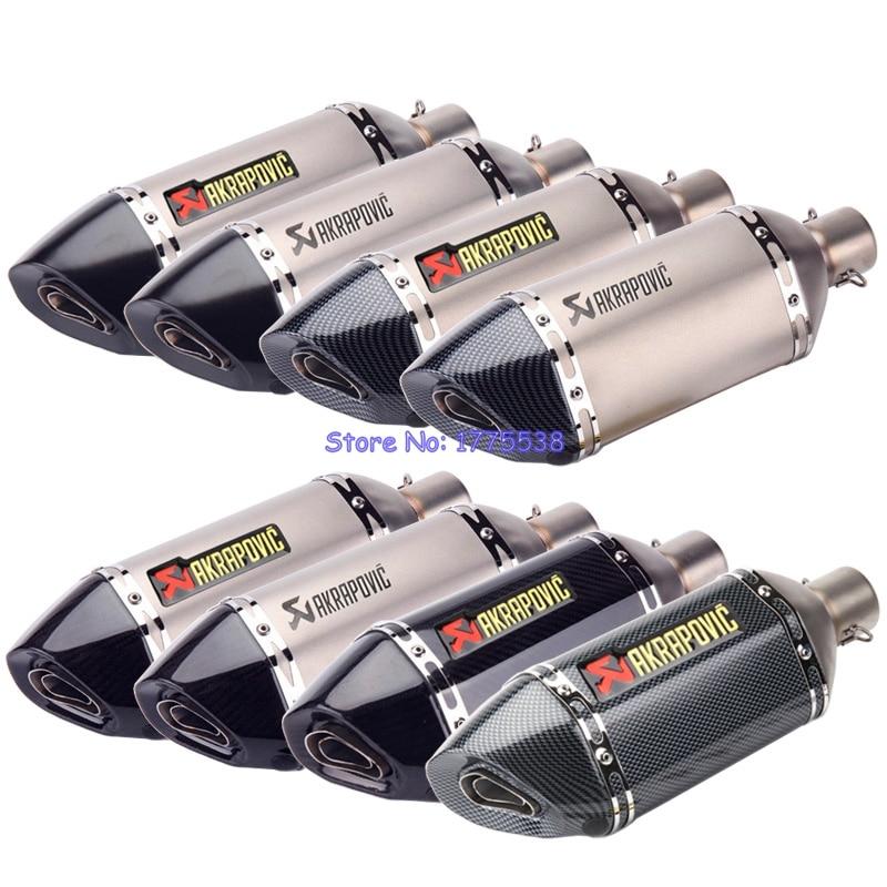 PHULEOVEO Motorcycle Exhaust Muffler ID:51mm L:370mm Universal Motorbike Carbon Fiber Exhaust Muffler Escape Damper DB Killer