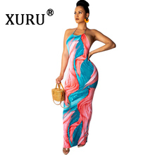 XURU New Women's Print Sexy Dress Sling Open Back Sleeve Tie Dye Long Dress tie dye racerback dress
