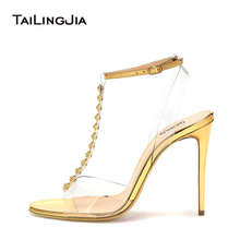 все цены на High Heel Gold Women Sandals Open Toe Clear Transparent Pvc Brand Buckle Rivets Studs Summer Ladies Shoes Sexy Party Woman Shoes онлайн