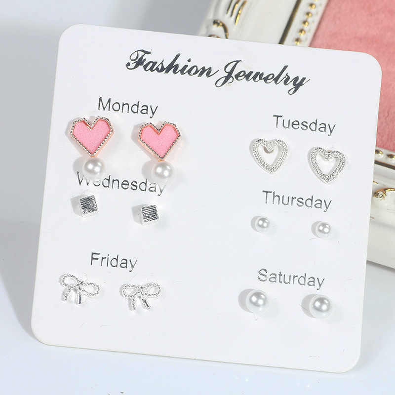 Set Fashion New Earrings Geometric Personality Juvenile Wind Pink Love Pearl Heart Bow Box 6 Piece Set Ladies Earrings Gift