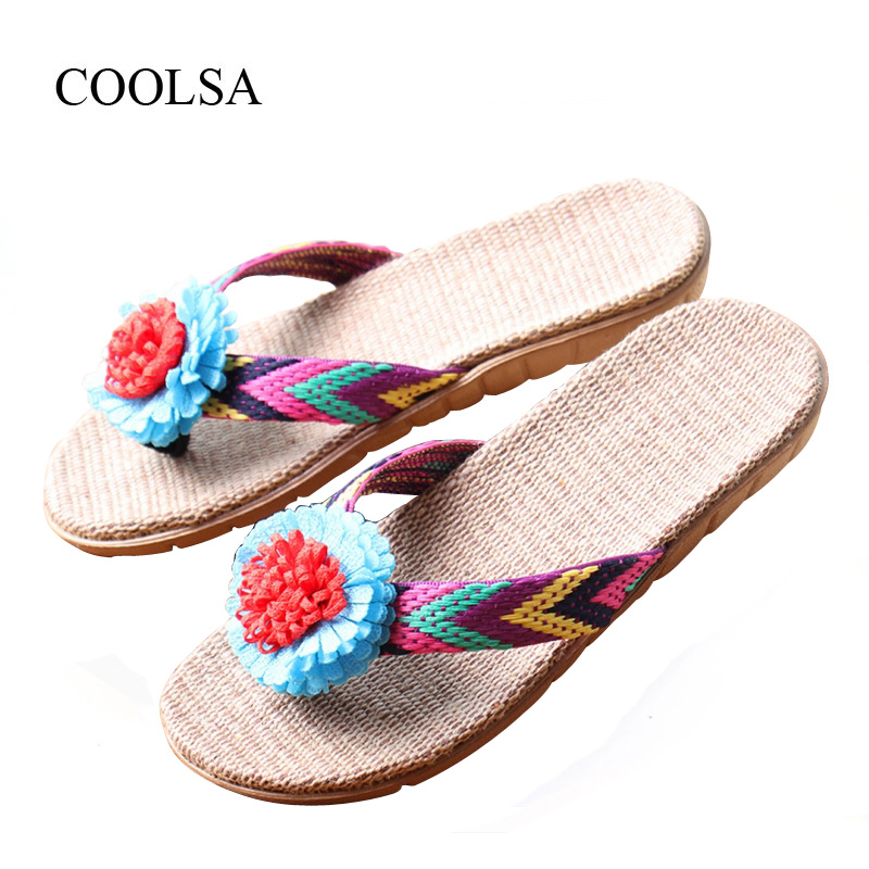 COOLSA Women's Linen Slippers Women's Flat EVA Non-Slip Floral Linen Slides Home Shoes Summer Beach Flip Flops Ladies Flax Shoes coolsa women s summer flat non slip linen slippers indoor breathable flip flops women s brand stripe flax slippers women slides