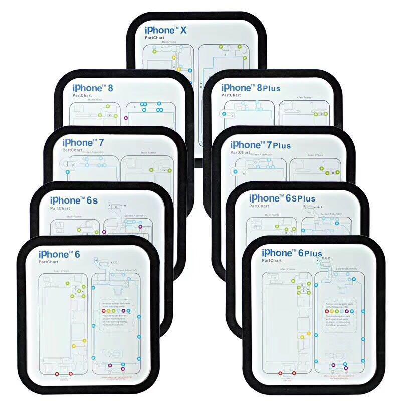 12PC Professional Guide Pad For IPhone XsMax XR XS X 8P 8 7 7P 6 6s 6p 6sp Magnetic Screw Keeper Chart Mat Phone Repair Tools
