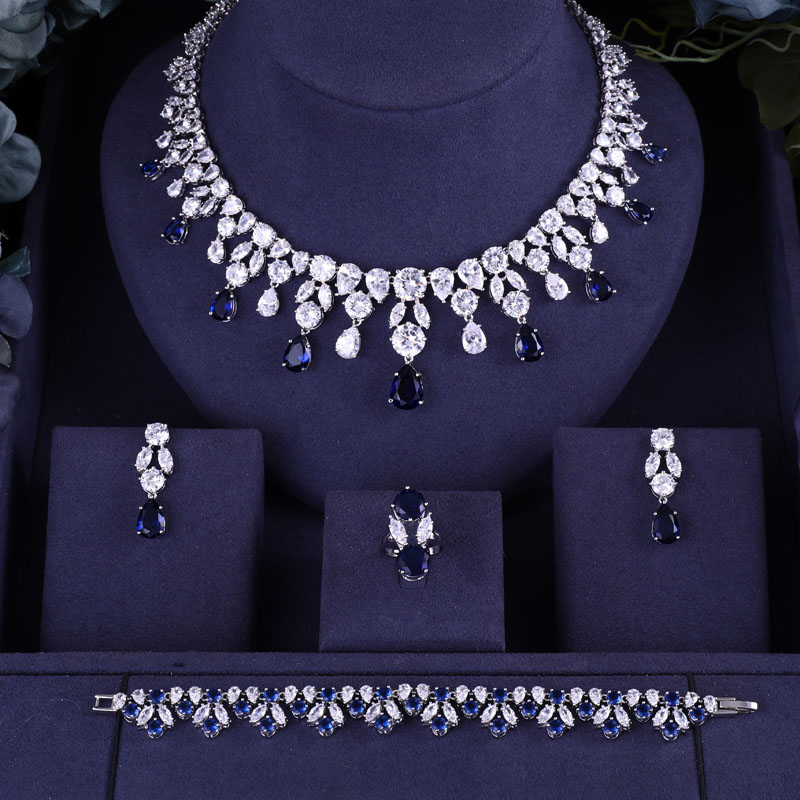 jankelly Hotsale African Blue Bridal Jewelry Sets New Fashion Dubai Necklace Sets For Women Wedding Party Accessories Design