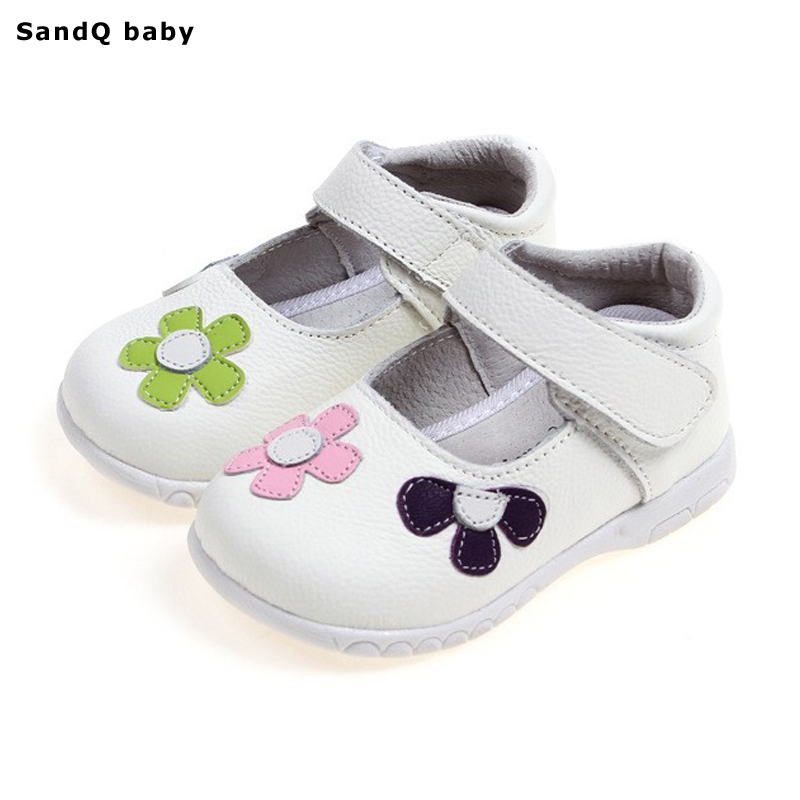 Girls Princess Shoes 2019 New Spring Äkta Läder Barnskor för Flickor Flower Kids Sandaler Fashion Baby Toddler Shoes
