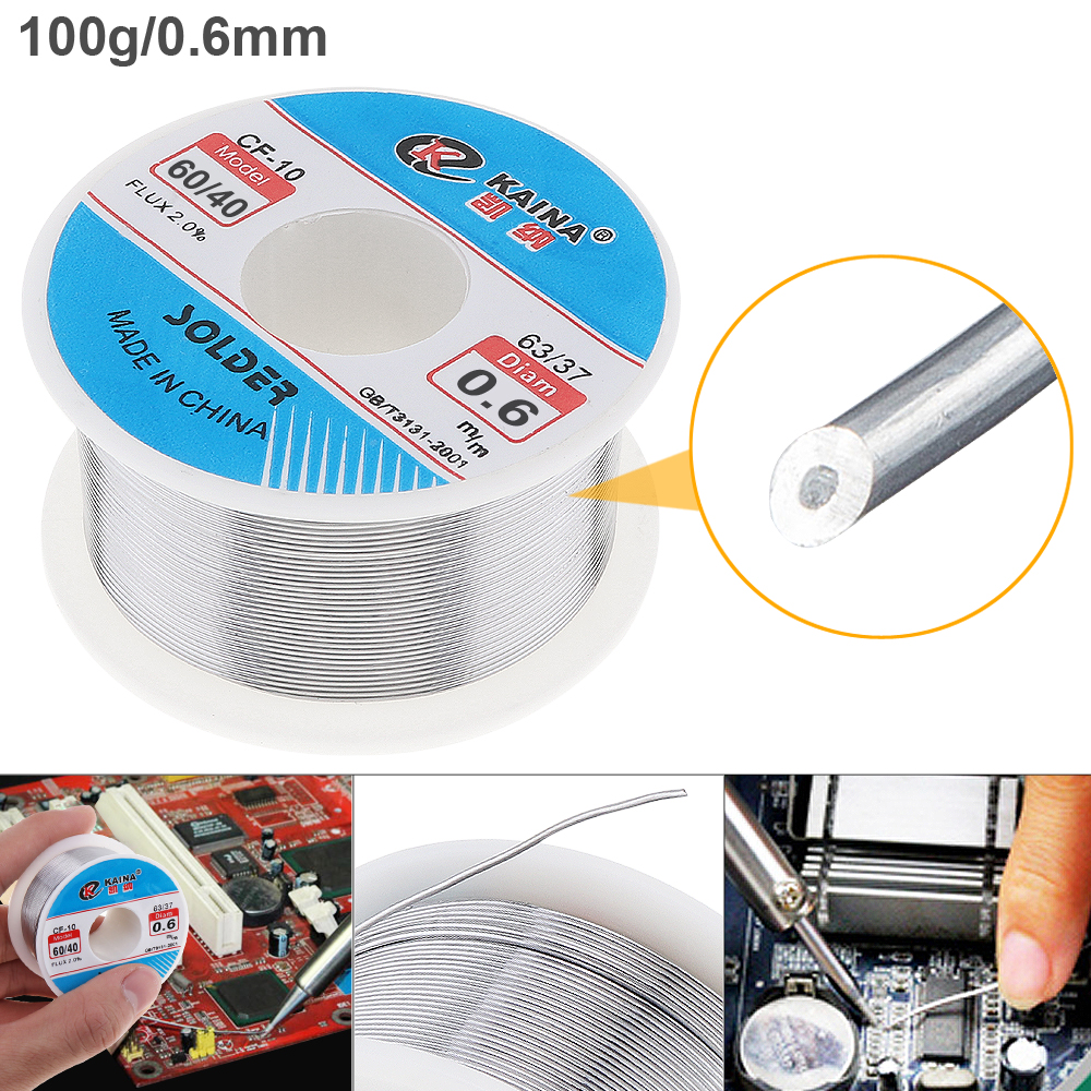 <font><b>60</b></font>/<font><b>40</b></font> 100g 0.6mm Tin Fine Wire Core 2% Flux Welding <font><b>Solder</b></font> Wire with Rosin and Low Melting Point for Electric Soldering Iron HOT image
