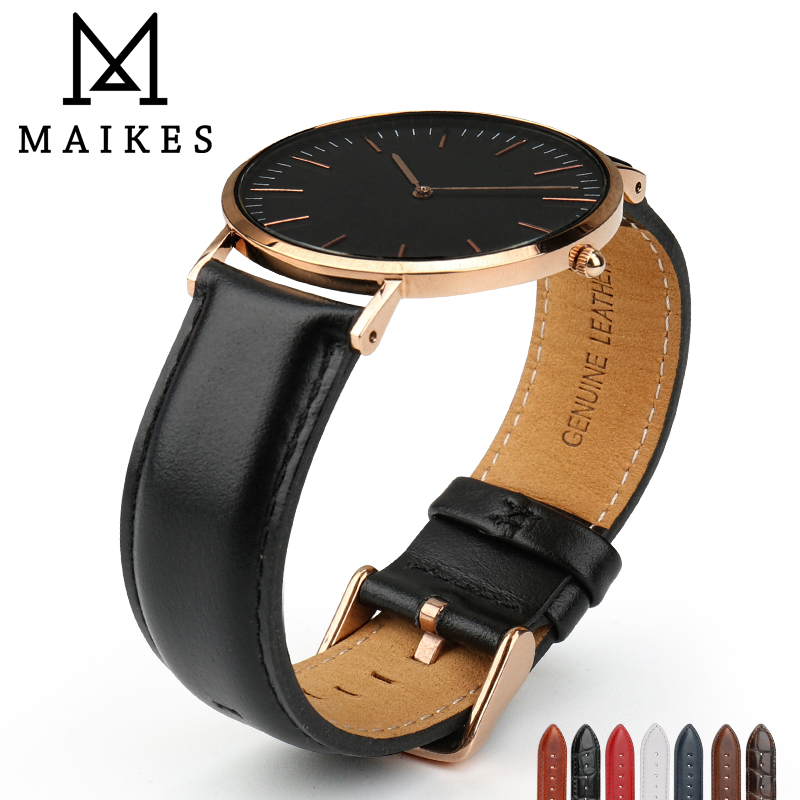 MAIKES Uhr Zubehör Uhrenarmband Für Daniel Wellington Männer Frauen Klassische Schwarz Uhrenarmband mit Rose Gold Schließe Armband
