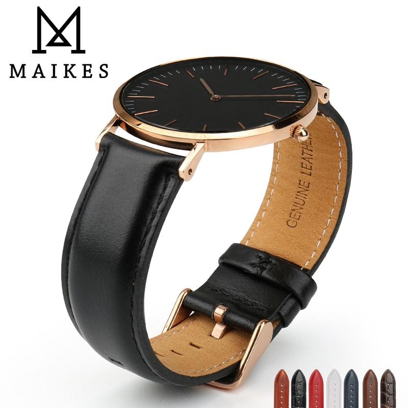 где купить MAIKES Watch Accessories Watch Strap For Daniel Wellington Men Women Classic Black Watch Band with Rose Gold Clasp Wrist Band по лучшей цене