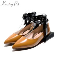 Krazing Pot Cow Leather Fashion Strange Low Heels Brand Women Pumps Rivets Decorations Pointed Toe Runway