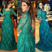 BY6 Dubai kaftan Hoge Hals Lange Mouwen Hunter Green Lace Avondjurk 2016 Nieuwe Aankomst Lange Formele Arabisch Prom Dresses