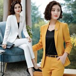 IZICFLY Lente Formele Broek Pak Office Lady Uniform Ontwerpen voor Witte Blazer Vrouwen Suits Business Lange Femme Werkkleding Plus size