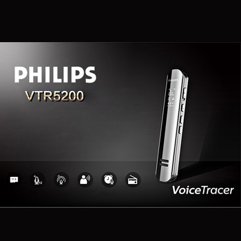 PHILIPS VTR5200 Hidden 8GB Digital Voice Recorder USB MP3 Player Professional Recorder Pen Dictaphones Mini Small Audio