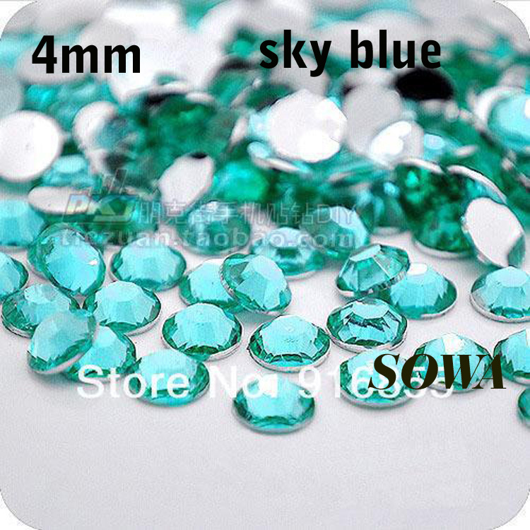 Free Shipping 1440pcs/bag SS16 Size 4mm Sky Blue Resin Flatback beads,Nail Art beads,DIY Wedding Decoration