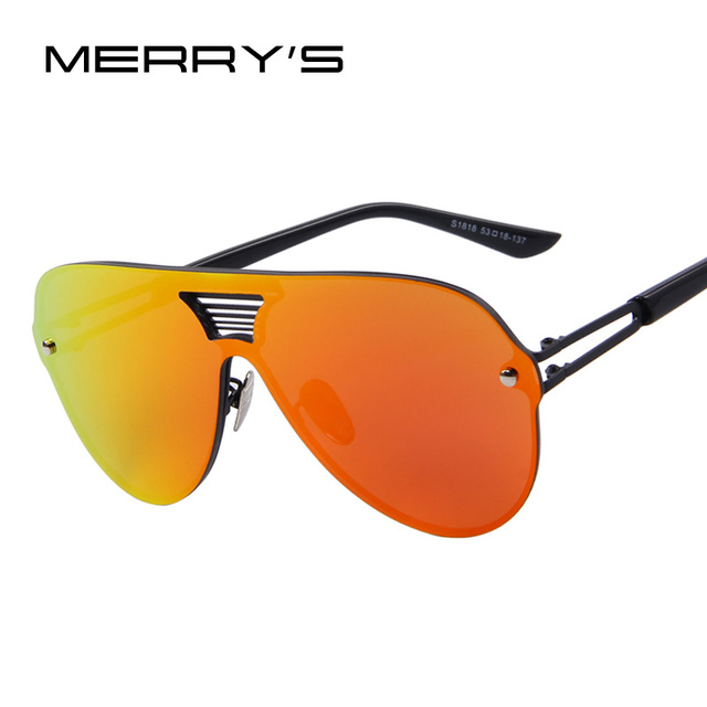 6769c80b2e MERRY S Fashion Men Summer Mirror Sunglasses Women Brand Design Big Frame  Integrated Eyewear Sunglasses Oculos de sol UV400
