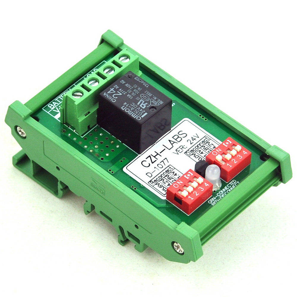 DIN Rail Mount LVD Low Voltage Disconnect Module, 24V 10A, Protect Battery.