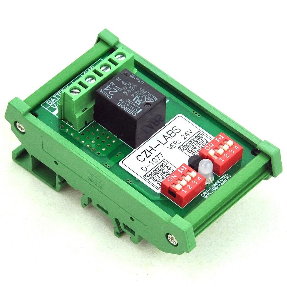 DIN Rail Mount LVD Low Voltage Disconnect Module, 24V 10A, Protect Battery.DIN Rail Mount LVD Low Voltage Disconnect Module, 24V 10A, Protect Battery.