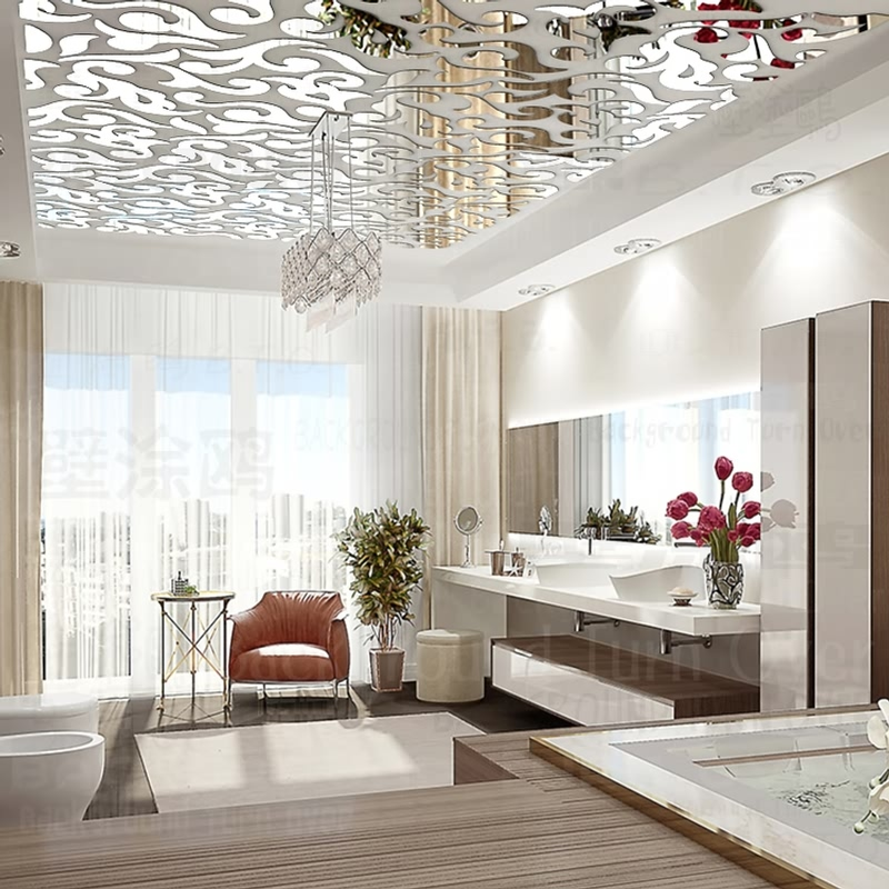 Mirror Wall Stickers Sticker Room Decoration Home Decor Decorative Ceiling Modern House Bedroom 3D Retro Mural Wallpaper R236