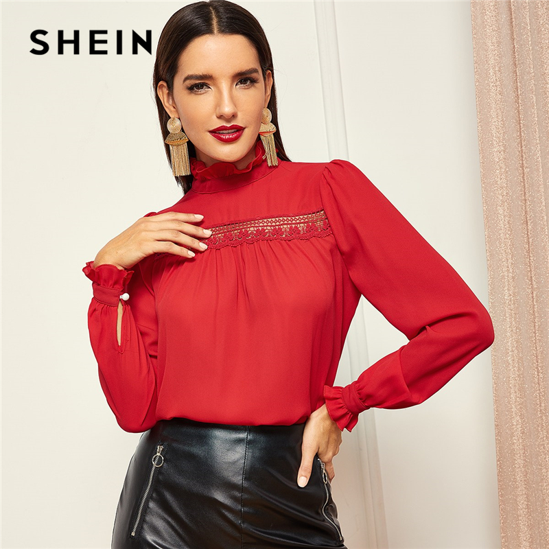 SHEIN Red Contrast Lace Insert Smocked Neck Ruffle Stand Collar Frill Cuff Women Blouse Elegant Office Lady Autumn Top Blouses