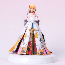 Anime Fate Stay night Fate/Extella Saber Arturia and Altria kimono Suit Ver. with LED Base Statue Figure Model Toys 27cm