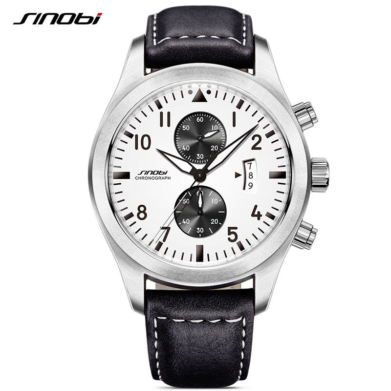 SINOBI Mens Military Chronograph Wrist Watches Date Leather Clock Luxury Brand Male Sports Shock Geneva Quartz
