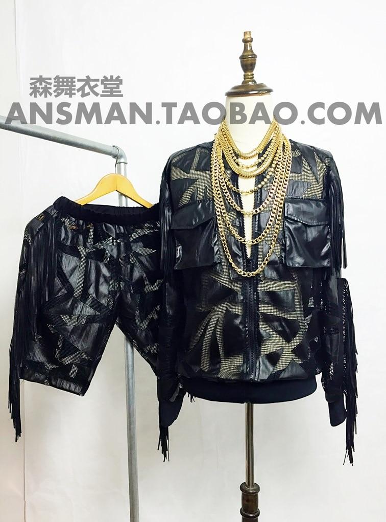 2018 Для мужчин Мода Тонкий DJ певец в рок-стиле с бахромой кожаные  мотоциклетные куртки пальто костюмы одежда cd516479ec0