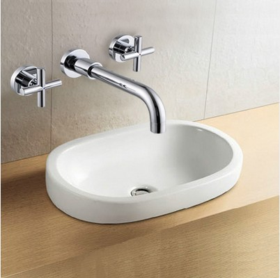 BECOLA Free shipping Round wall mounted faucet washbasin bathroom tap 3 pcs set flush cold and hot water basin faucet LT-318 led waterfall bathroom basin faucet deck mounted washbasin bathroom tap 5 pcs set flush cold and hot water mixer taps