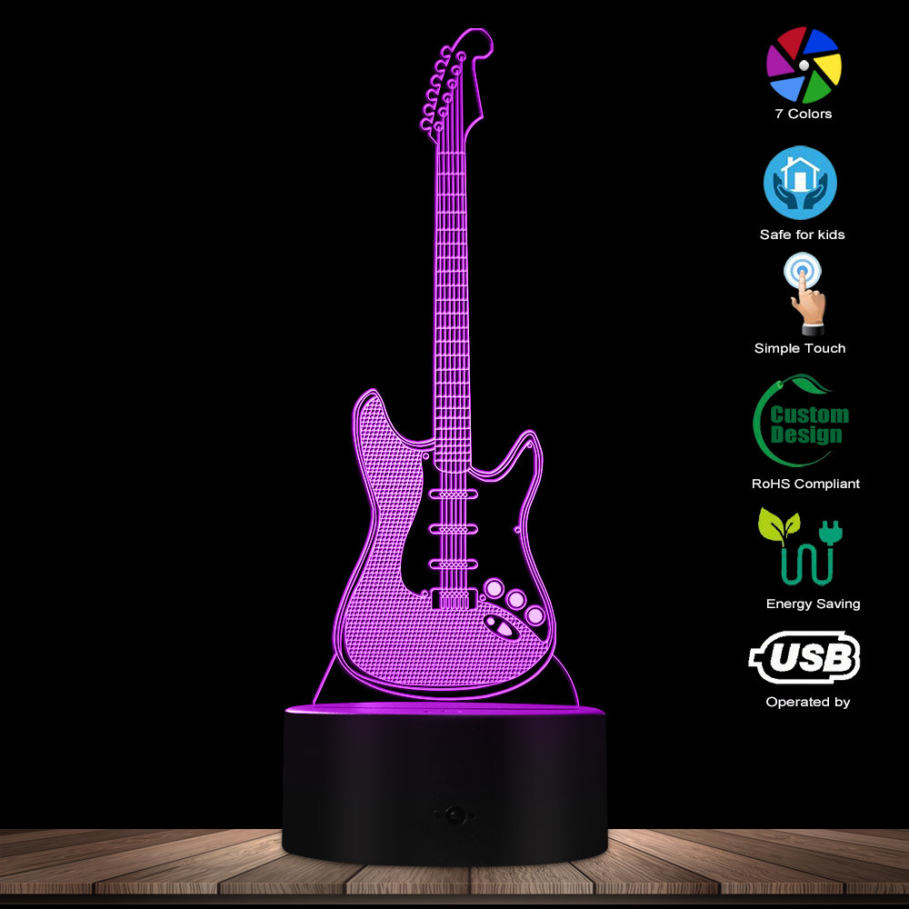 Guitar 3D Lighted Sign Music Instrucment Night Lights Guitarist Room Lighting Decor Lamp Rock And Roll Gift For Music Lover