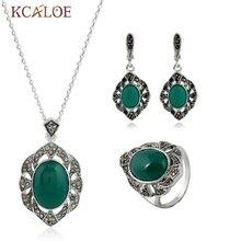 Diseño único de Piedra Plateado Plata Antigua de Jade Verde Natural de la Ágata Anillo de La Joyería Con el Collar Pendiente de La Vendimia de La Manera