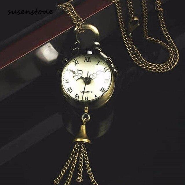 Susenstone Fashion Men Bronze Quartz Ball Glass Pocket Watch Necklace Chain Stea