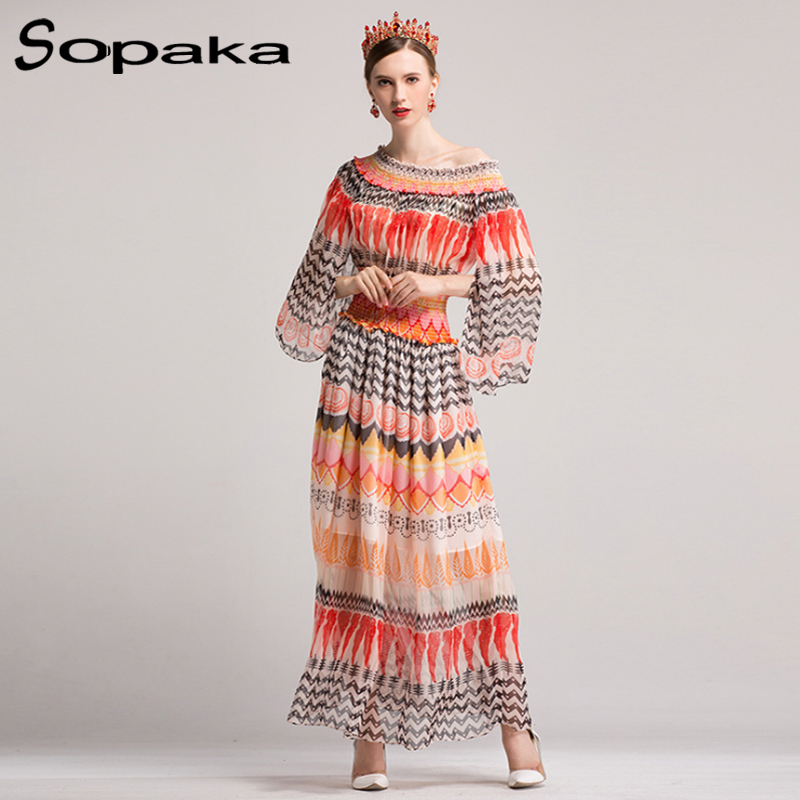 SOPAKA High Quality 2017 Autumn Flare Sleeve Floral Printed Runway Designer Casual Maxi Women Dress Fashion holiday long dresses