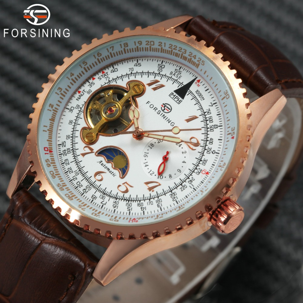 FORSINING Top Brand Luxury Tourbillon Skeleton Mechanical Watch Men Leather Strap Sun Moon Display Classic Vintage Wrist Watches