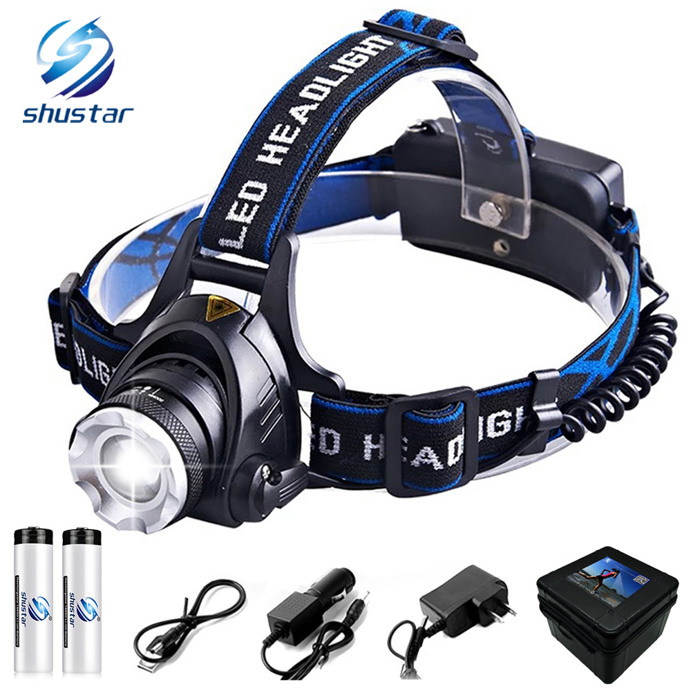 2*18650 100000LM Rechargeable 5xT6 LED Headlamp Headlight Flashlight Head Torch