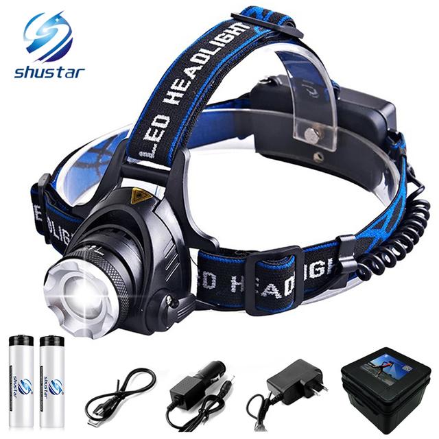 6000 Lumens Led headlamp T6/L2 Led headlight 4 modes zoom Waterproof Head lamp Fishing Hunting Use 2 18650 batteries