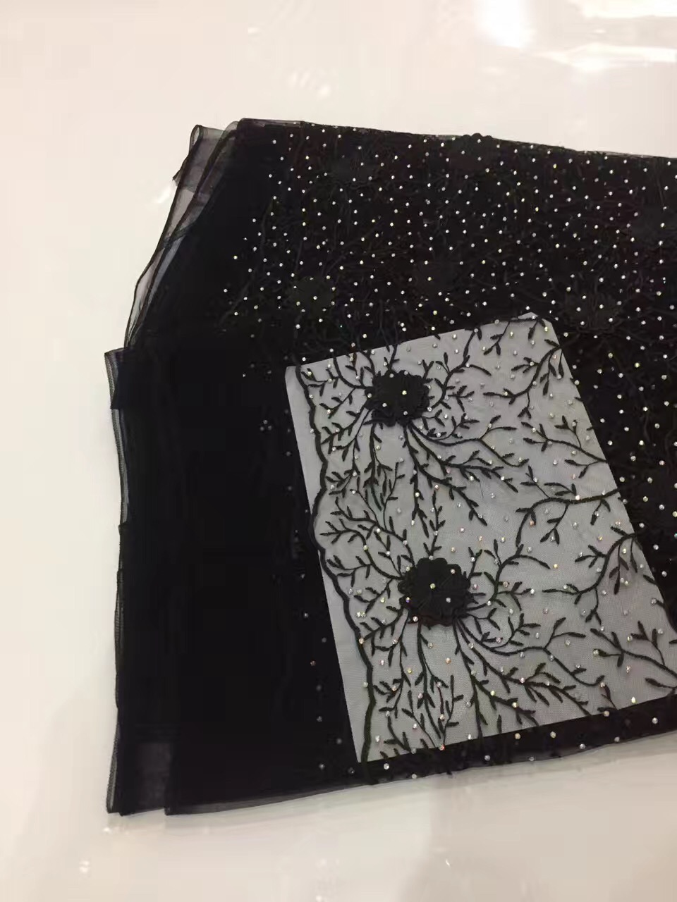 Latest Black Tulle Lace Mesh Fabric African French Lace Fabric High Quality African White Coral Cord Lace Fabric AMZ842